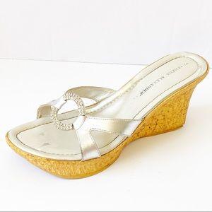 Silver slip on platform comfy sandals